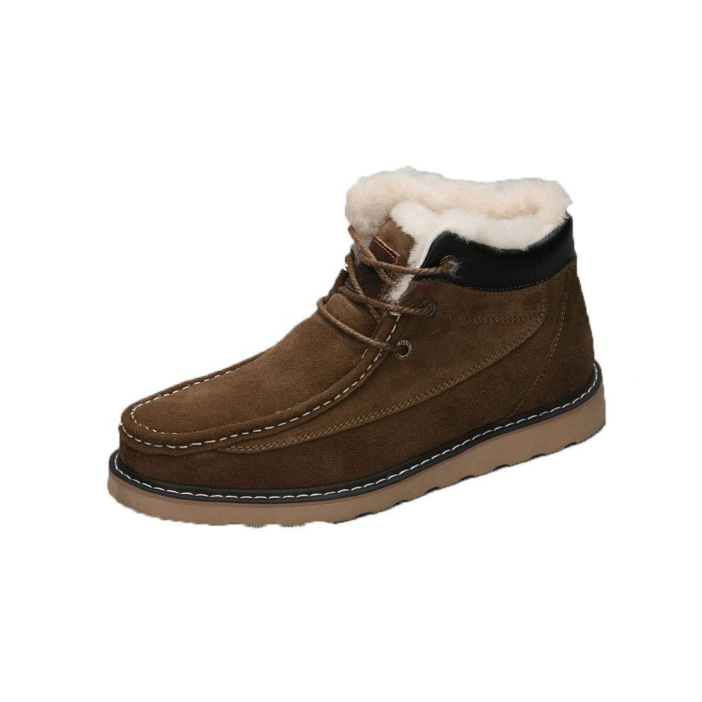Ailjxz ailj Schneeschuhe, Herren Leder Plüsch Eine Stiefel Winterstiefel Warme Stiefel Baumwolle Schuhe Rutschfest Alle Größen (braun) (Farbe   braun, größe   39 EU 7 US 6 UK 24.5cm JP)