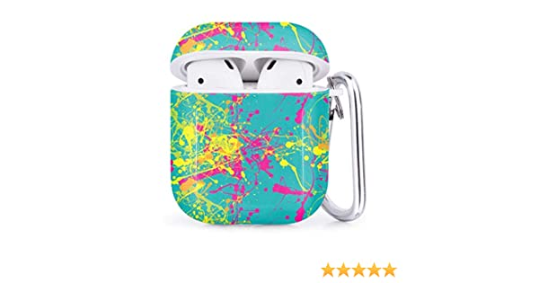 Shockproof Soft TPU Gel Case Cover with Keychain Carabiner for Apple AirPods Colorful Paint Splatters Compatible with AirPods 2 and 1