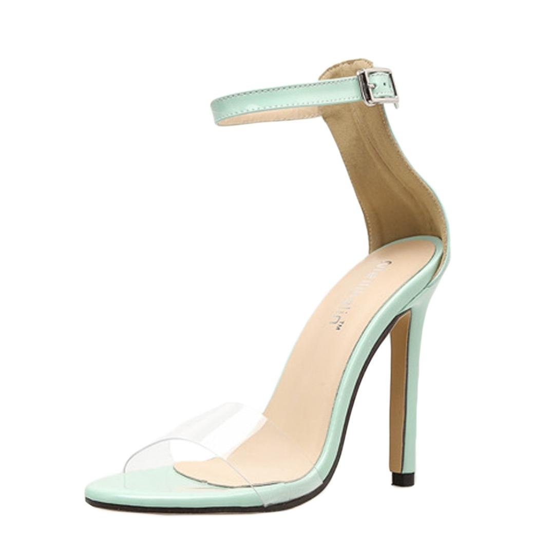 11eb3761e02 Amazon.com  Outsta Fashion Women Transparent Sandals Summer Shoes Thick  Buckle Party Sexy High Heel (Green