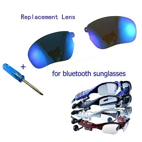WONFAST® Anti-rays Polarized Replacement Sunglassess Lenses Lens for Wireless Bluetooth Sunglasses Headset Headphones (Pair lens-Blue)