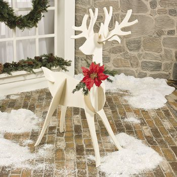 large wooden slotted reindeer freestanding outdoor christmas decoration holiday yard and garden accents - Wooden Deer Christmas Decorations