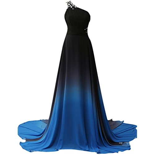 JAEDEN Gradient Chiffon Formal Evening Dresses Long Party Prom Gown Blue Four US18W