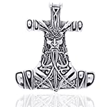 Thor's Hammer Celtic Nordic Viking God Large Sterling Silver Slide Pendant