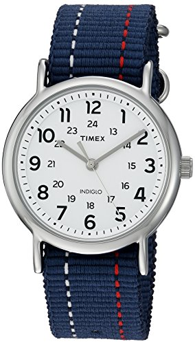 Timex Unisex TW2R107009J Weekender Blue Denim Red and White Stitching Slip-Thru Strap Watch ()