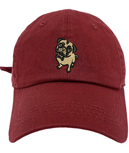 TheMonsta Pug Style Dad Hat Washed Cotton Polo Baseball Cap (Burgundy)