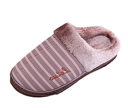 ICEGREY Herren Winter Warme Hausschuhe Streifen Muster Plüsch Fleece Gemütliche Wärmehausschuhe Pantoffeln Kaffee 42 43