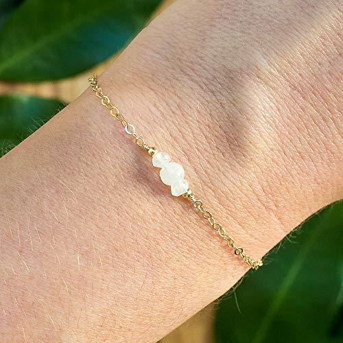 Dainty Crystal Moonstone Bracelet in 14k Gold Fill - June Birthstone