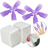 Set / Kit / Lot of 200pcs Manicure Pedicure Makeup / Make Up Soft Lint Free Cotton Pads and 10pcs Acrylic Nails / Tips Soak Off Clips On Caps / Soakers Tools / UV Gel Polish Removers Soaking Wraps