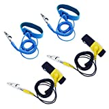 homEdge Anti-Static Wrist Straps, 4 Packs Reusable ESD Anti-Static Wrist Straps with Alligator Clip for Grounding Yourself When Working with Sensitive Electronic Device - Blue and Black + Yellow