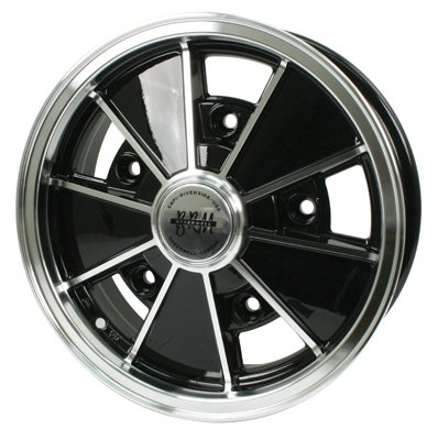 PREMIUM BRM WHEEL, Black With Polished Lip, 6.5'' Wide, 5 on 205mm VW