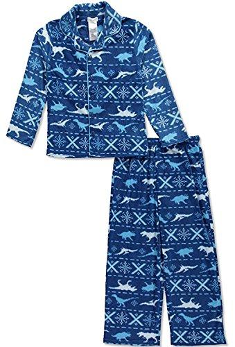 Komar Kids Little Boys'Sleepy Dino 2-Piece Pajamas - Blue - Piece Pajama 2 Flannel