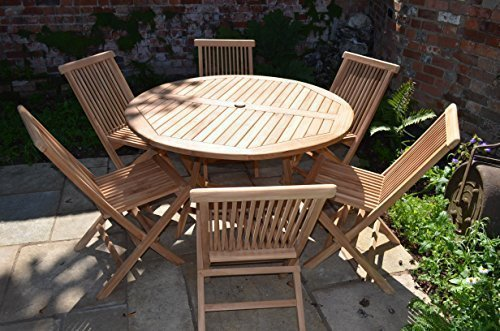 mortimer 6 seater garden set solid teak 12m 4ft round folding table with folding chairs amazoncouk garden outdoors