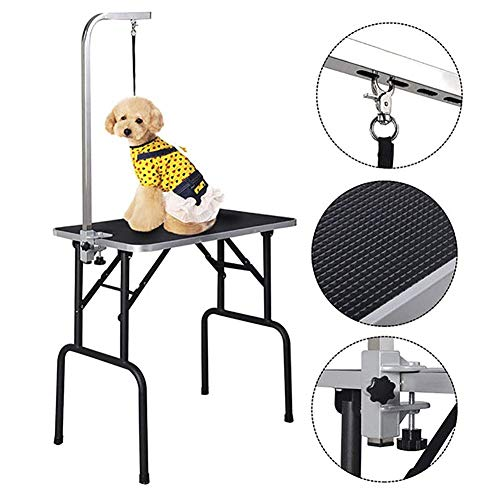 Pig Tabletop - MC.PIG Dog Grooming Table 32'' Adjustable Pet Dog Cat Grooming Table Top Foam W/Arm&Noose Rubber Mat