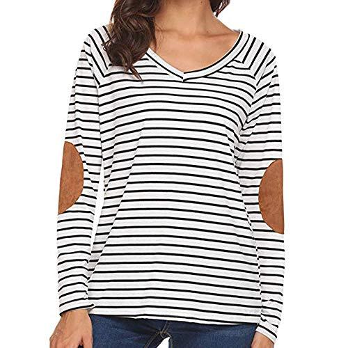 Luckycat Las Mujeres de la Raya de impresión Ocasional de Manga Larga Jersey Camisas Blusas Tops: Amazon.es: Ropa y accesorios