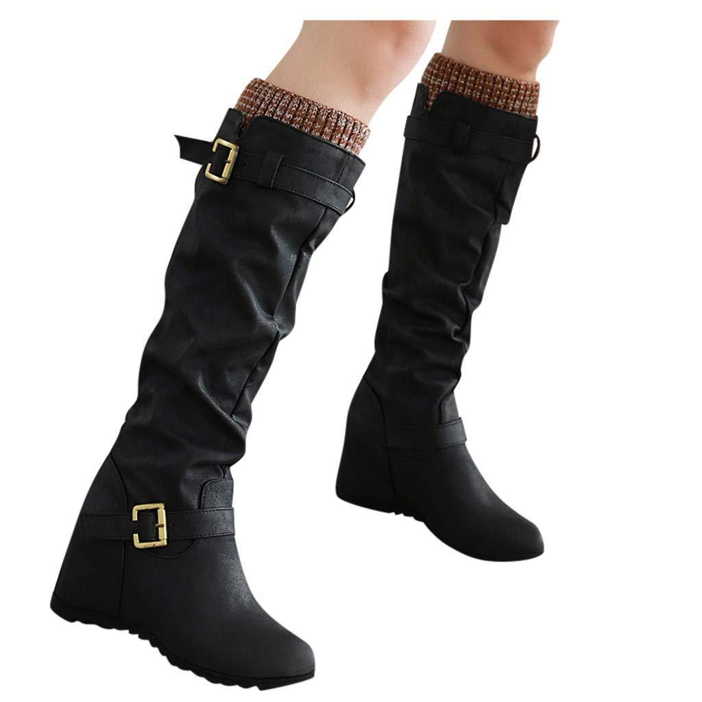 Womens Retro Tassel Casual Boots Low-heele Zipper Non-Slip Roman Shoes Short Boots Walking Shoes Black by Frunalte Women Shoes