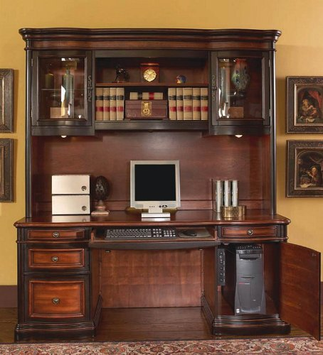 Home Office Computer Desk with Hutch in Two Tone Warm Brown Finish by Coaster Home Furnishings