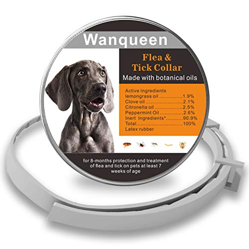 Wanqueen Flea and Tick Collar for Dogs, Waterproof and Adjustable Collars with Protect Health for 8 Months
