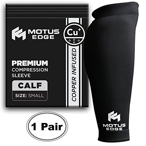 - Motus Edge Copper Infused Calf Compression Sleeve for Shin Splints, Leg Cramps, Crossfit, Pain Relief (2-Pack - Small)