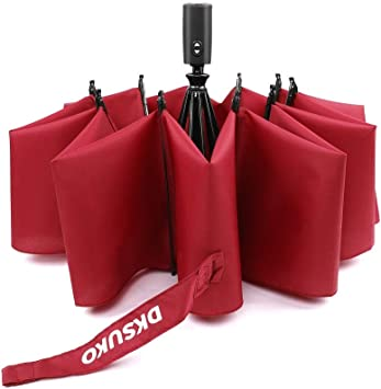 Burgundy Red Compact Umbrellas Lightweight Wind Resistant Fibre Ribs Auto Open