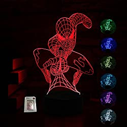 Spider-man Night Light for Kids Birthday Gift 3D Illusion Lamp Optical Led Desk Gifts for Boys Men Home Decor Office Bedroom Party Decorations Web Shooter Nursery Lighting 7 Color Change Spider-man