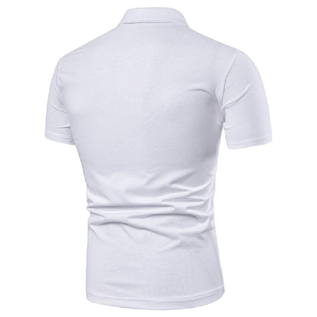 Mfasica Mens Silm Fit Stripes Short Sleeve Polo Shirts Lapel Collar Tees