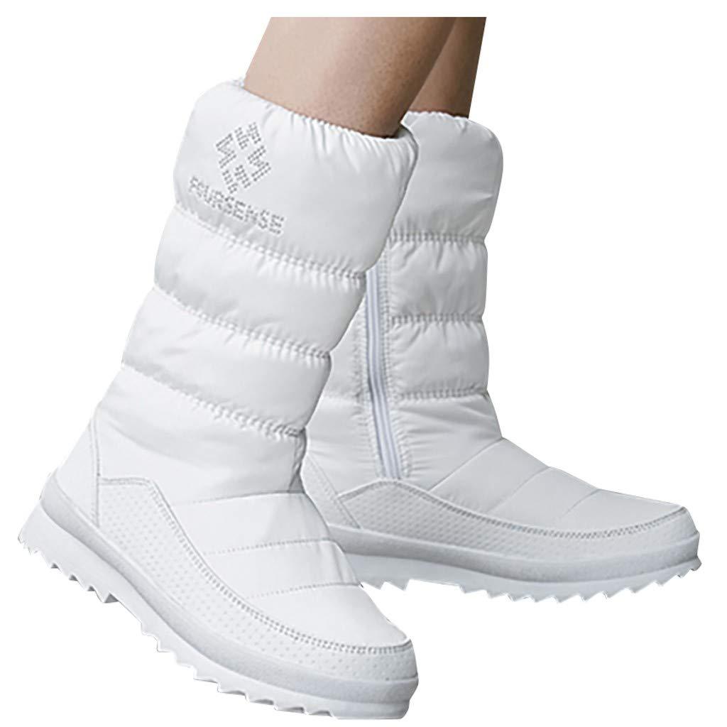 Dainzuy Women's Warm Faux Fur Lined Mid Calf Winter Frosty Snow Boots Waterproof Outdoor Knee High Zipper Shoes by Dainzuy Women's Shoes