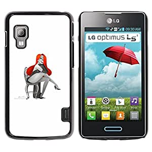 All Phone Most Case / Hard PC Metal piece Shell Slim Cover Protective Case for LG Optimus L5 II Dual E455 E460 Glamorous Sexy Woman Red Hair Drawing Art