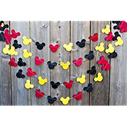 Mickey Mouse Garland | Paper Garland |Party Supplies | Club House Inspiration | Mickey Head Garland | Tricolor Mickey Head Garland Mickey Paper garland