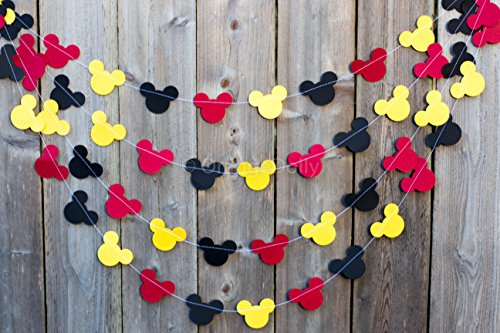 Mickey Mouse Garland | Paper Garland |Party Supplies | Club House Inspiration | Mickey Head Garland | Tricolor Mickey Head Garland Mickey Paper garland -