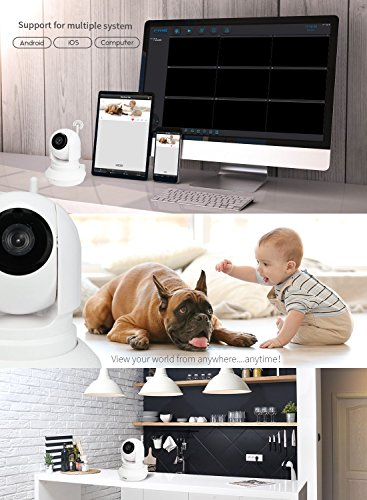 FREDI Indoor 1.0 Megapixe 720P Wireless WiFi IP 2.4G Network Camera Surveillance with IR-Cut 2way Audio and Night Vision with WiFi Antenna