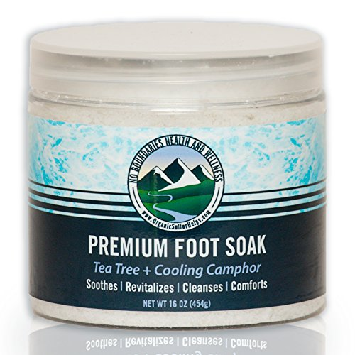 (Premium Tea Tree Oil + Cooling Camphor Foot Soak by No Boundaries Health and Wellness - Peppermint, Rosemary, Cajeput Essential Oils, Epsom & Dead Sea Salts, MSM Organic Sulfur - Soothe Feet)