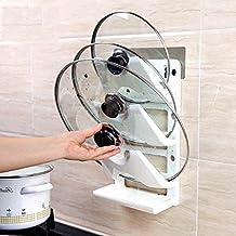 Storage Tower Kitchen Pot Cover Wall Hanging Kitchenware Storage Unit Drawer Free Punching (White)