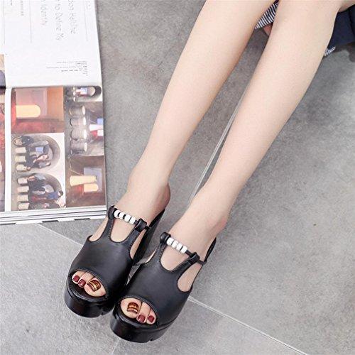 Compensé Bout Electri Noir Hauts Ouvert Plate Talon Talons Mode Chaussures Été Sandales forme Tongs Femmes B Pente Mocassins sexy wZqExn