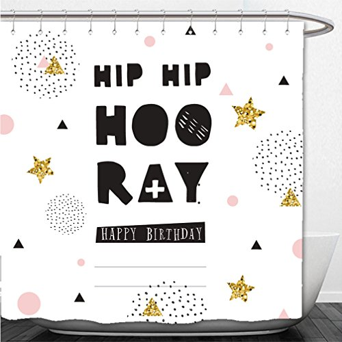 Interestlee Shower Curtain hip hip hooray hand drawn inspiration quote hipster greeting card with confetti and glitter 382978672 Hand Drawn Personalized Christmas Cards