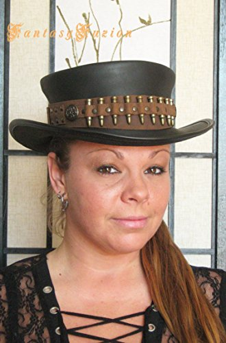 Steampunk Leather Top Hat Time Hunter Post-Apocalyptic Leather SHORT Top Hat 2 Tones