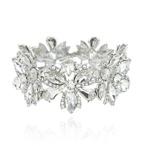 Women's Flower Blossom Glass Stone Fashion Stretch Bracelet in Silver by SP Sophia Collection