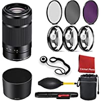 Sony E 55-210mm F4.5-6.3 Lens for Sony E-Mount Cameras (Black) with 3 Peice Filter Kit,Blower, Lens Hood, Lens Pen, Case, Cap Keeper, Cleaning Cloth, 3 Piece Macro Closeup Kit