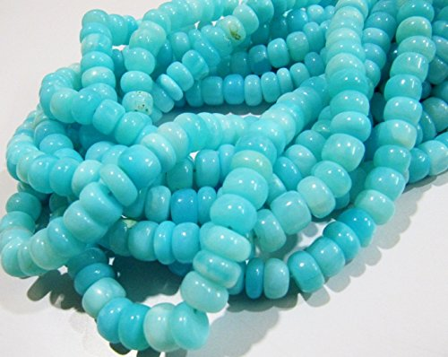 AAAA Quality Natural Blue Opal Rondelle Plain Beads 9mm Peruvian Opal Smooth Beads Strand 8 inches Rock bottom Price- Best value for money (Peruvian Opal Round Beads)