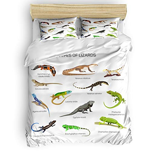 Laibao Home 4 Piece Bedding Set for Children/Adults/Kids/Teen, Soft Bed Sheets, Duvet Cover, Flat Sheet, Pillow Covers, Types of Lizards Printing Bedding Sets Twin Size ()