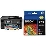 Home and Office Printer - Epson WorkForce WF-3620 WiFi Direct All-in-One Color Inkjet Printer, Copier, Scanner & Epson T252520 DURABrite Ultra Standard-Capacity Color Ink Cartridge, Multipack