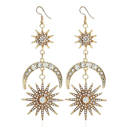 Earrings for Women Wedding Party Evening Jewelry Star Chandelier Rhinestone Crystal Drop Earrings,Gold ()