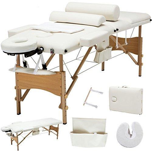White 3 Fold Portable Facial SPA Bed Massage Table Sheet+2 Bolster+Cradle+Hanger + FREE E-Book