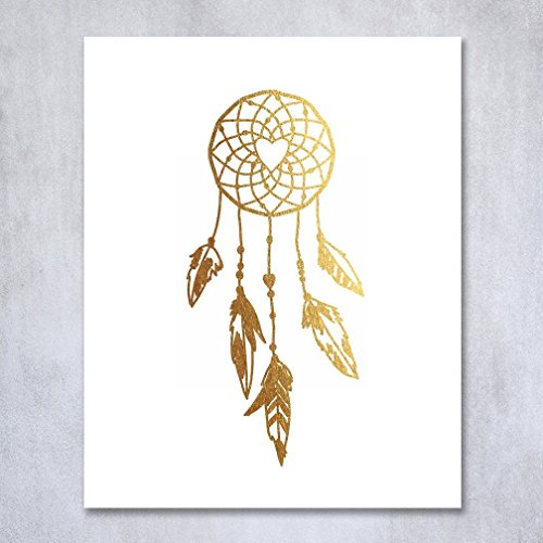 Free Dreamcatcher Gold Foil Decor Tribal Boho Chic Dream Catcher Wall Art Print Metallic Poster 8 inches x 10 inches A18
