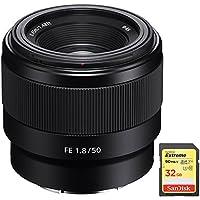 Sony FE 50mm F1.8 Full-frame Prime E-Mount Lens with Sandisk 32GB Extreme SD Memory UHS-I Card