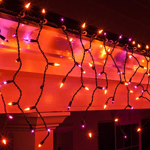 Kringle Traditions 150 Purple/Orange Mini Icicle Light Set with Black Wire, 14