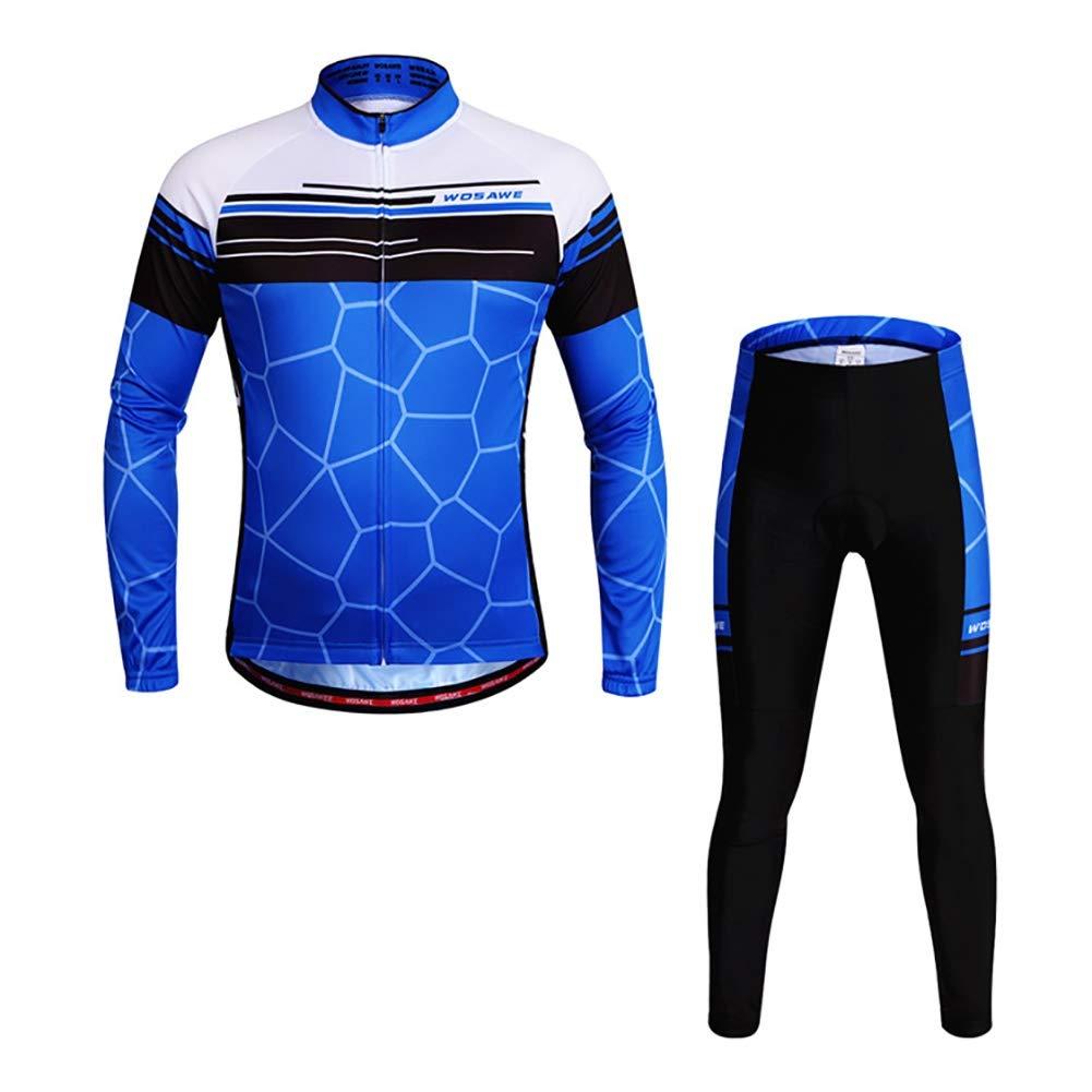 QIXFU Pantalones de Jersey de Ciclismo Unisex Tira Reflectante 4D Diseño de Almohadilla de Gel Adecuado para Montar a Caballo Largo y Corto Negro con Azul, L LUYAN