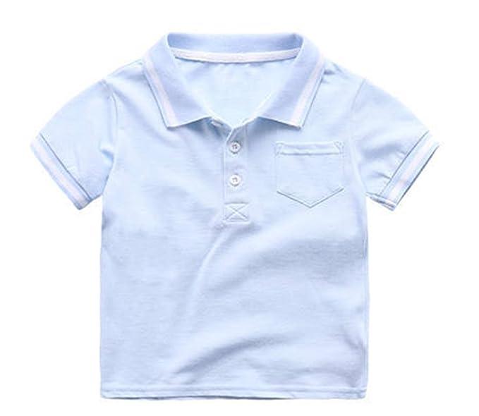 Polo de los Niños Camiseta de Algodón a Rayas de Manga Corta Top ...