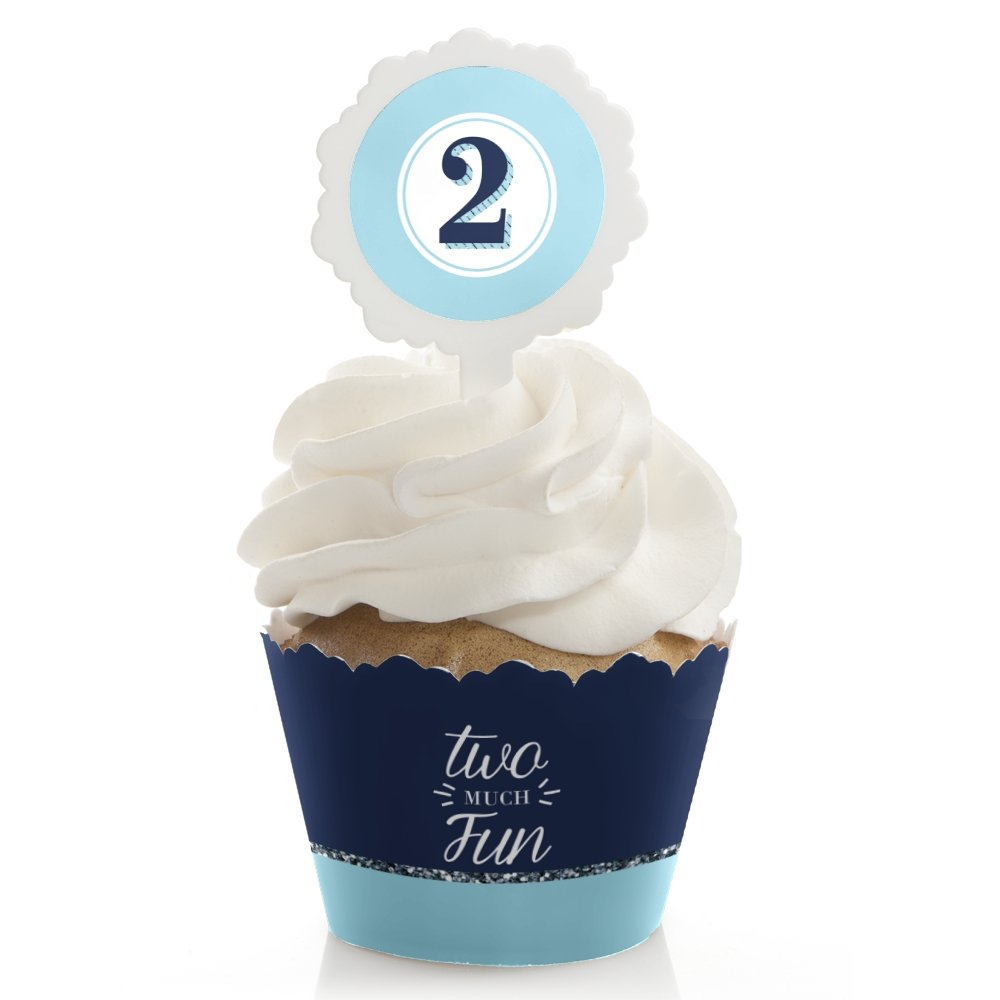 Big Dot of Happiness Two Much Fun - Boy - 2nd Birthday Cupcake Wrapper and Pick - Cupcake Decorating Kit - Set of 24