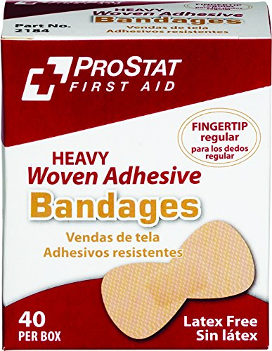 ProStat First Aid 2184 Heavy Woven Regular Fingertip Adhesive Bandages (Pack of 40)