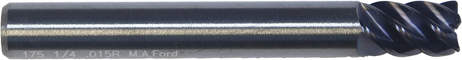 MA Ford 1//4 Inch Solid Carbide 5 Flute Radius End Mill.015 Radius AlTiN ALtima Coating 3//8 Inch Length of Cut SS Series for Steels 2 Inch Overall Length